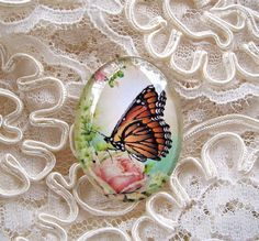 Butterfly On A Rose30X40mm Glitter Unset Handmade Art Bubble Cameo Cabochon #Handmade #Cameo