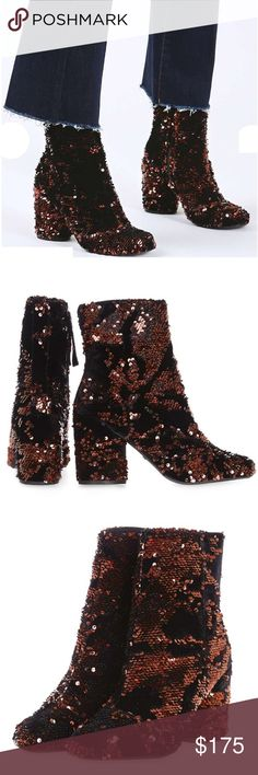 """Topshop sequin&velvet boots Amazing eye catching sequin and velvet boots in a rich burgundy color. These are absolutely stunning and BRAND NEW will be delivered in original box.                                                         Heel height 3.5"""" Topshop Shoes Ankle Boots & Booties"""