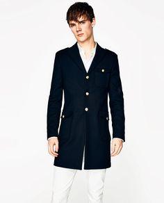 Image 1 of NAVY BLUE MILITARY COAT from Zara