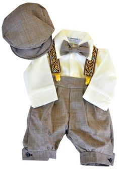 Infant & Toddler Boys Vintage Style Knickers Outfit Suspenders, Bowtie & Cap: Clothing