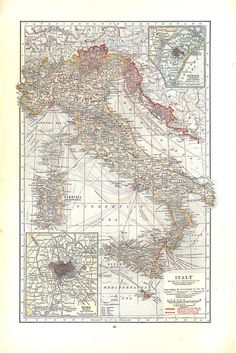 Would love to do a wall of framed vintage maps of all the countries I've been to! Italy Vintage Map 1930s
