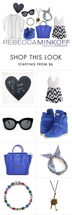 """""""Electric Blue X White"""" by privacy29 ❤ liked on Polyvore featuring Rebecca Minkoff, CÉLINE, Philipp Plein, Lenox, women's clothing, women, female, woman, misses and juniors"""