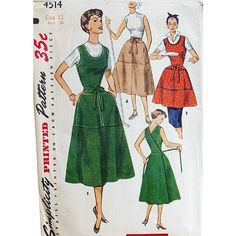 Dated 1953 this vintage sewing pattern is for a wrap dress, jumper, skirt, or apron with scoop neck, semicircular skirt, and oversized patch pockets.