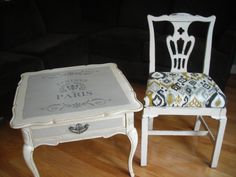 French table with ikat harp chair.