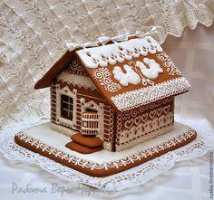 Купить Большой свадебный пряничный домик с сердечками-пожеланиями - белый, свадьба, пряник, расписные пряники