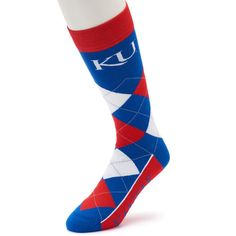 Adult For Bare Feet Kansas Jayhawks Argyle Line Up Crew Socks, Men's, Ovrfl Oth