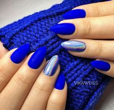 Blue Nail Art Ideas for 2018 - Top 150 Designs - Our Nail - Nails - Nageldesign Blue Gel Nails, Blue Acrylic Nails, Shellac Nails, Pink Nails, My Nails, Manicure, Blue Chrome Nails, Blue Nails Art, Heart Nails