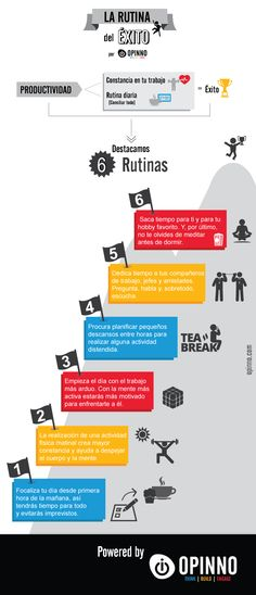 La rutina del éxito #infografia #infographic #productividad Powered by Opinno
