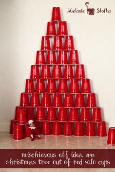 Elf on the Shelf made Red Solo Cup Christmas Tree - links to almost 100 other quick and easy elf ideas!