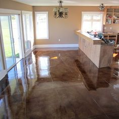 For the Home Stained Concrete Floors. I would love this in most of my home. Keeps house cooler Morton Building Homes, Metal Building Homes, Metal Homes, Building A House, Pole Barn House Plans, Pole Barn Homes, Pole House, Garage House, Basement Flooring