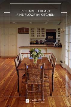 Carlisle Reclaimed Heart Pine Floors helped to create an inviting atmosphere in this custom kitchen space. Heart Pine Flooring, Pine Floors, Wide Plank Flooring, Wood Flooring, Pine Kitchen, Carlisle, Kitchen Design, House Design, Space