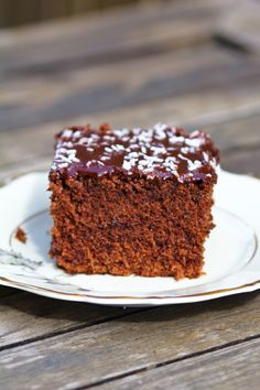 -layer chocolate cake baked in a roasting pan, covered with chocolate ...