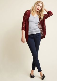 Library, Secondary, Tertiary Cardigan in Burgundy | ModCloth