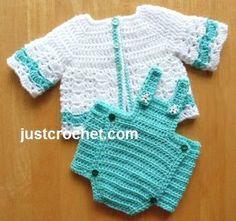 Free PDF baby crochet pattern for bibbed diaper cover & cardi http://www.justcrochet.com/bibbed-diaper-cover-cardi-usa.html #justcrochet