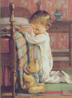 Child saying prayers before bedtime illustration. with a teddy bear Vintage Pictures, Cute Pictures, Kind Photo, Prayers For Children, Vintage Cards, Vintage Children, Art Children, Vintage Prints, Illustrators