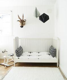 kidsroom, bed, scandinavian, scandistyle, origami, deer, black and white interior Decor, Furniture, Home Decor Decals, Bed, Interior, Black And White Interior, White Interior, Toddler Bed, Home Decor