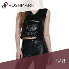 Coming Soon J.O.A. Gold Metallic Crop Top Black with gold Zip back 53% cotton, 35% rayon, 12% lurex Double V Tops Crop Tops
