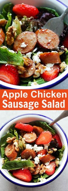 Apple Chicken Sausage Salad – healthy and refreshing salad loaded with apple chicken sausage, so good that even the pickiest eater loves it | rasamalaysia.com #ad