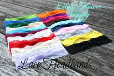 Lace Headband - Set of 5 - Interchangeable headbands - Baby headbands - Stretch Headbands - Wholesale Headbands - YOU CHOOSE COLORS on Etsy, $6.50
