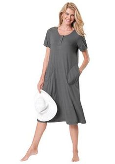 Short knit henley lounger by Dreams & Co® | Plus Size Sleepwear & Robes | Jessica London