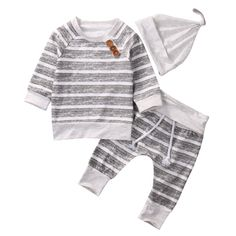 Nice Casual Striped Baby Clothes Set Newborn Infant Bebes Boys Girls Long Sleeve T-shirt TOPS + Pant+Hat Outfit Bebek Giyim Tracksuit - $15.45 - Buy it Now!