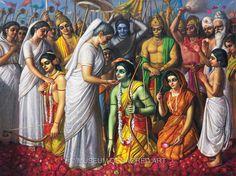 Sita, Rama and Lakshmana Return to Ayodhya by Saccidananda Dasa Ram Sita Image, Ramayana Story, Shree Ram Images, Shri Ram Photo, Rama Lord, Krishna Statue, Krishna Krishna, Hare Krishna, Lord Rama Images