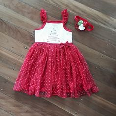 Red & White Xmas Tree Dress at www.babybellandco.com