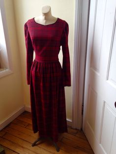 REDUCED Laura Ashley Vintage baby DOLL red Buffalo Plaid Long Sleeve flannel GRUNGE Dress size 14 by ChattTownVintage on Etsy