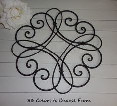 BLACK / Wrought Iron Decor / Shabby Chic / Wall Decor / Cottage Decor / Swirl Decor /  Indoor / Outdoor Decor by FromShab2Chic on Etsy https://www.etsy.com/listing/223455001/black-wrought-iron-decor-shabby-chic