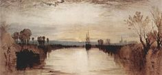Joseph Mallord William Turner - A sail boat approaches the Arts.jpg Joseph Mallord William Turner - A River Seen from a Hill. Chichester, Covent Garden, Joseph Mallord William Turner, Year Without A Summer, Art Romantique, Turner Painting, English Romantic, Tate Gallery, Expositions