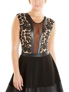 dots: Animal Print Mesh Inset Bodysuit