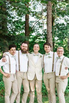 Khaki pants, suspenders, green bowties, easygoing groomsmen // Maine Tinker Photography