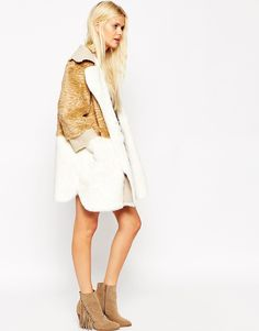 Image 4 of ASOS Coat in Patchwork Faux Fur & Faux Shearling