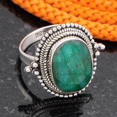 HOT SELL EMERALD 925 SOLID STERLING SILVER EXCLUSIVE RING 6.79g DJR4539 #Handmade #Ring