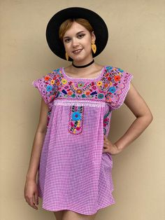Picnic style mexican blouse women, EXTRA LARGE pink gingham shirt, cotton short sleeve checkered top, floral embroidery, summer flower top Gingham Fabric, Gingham Shirt, Pink Gingham, Mexican Blouse, Mexican Outfit, Mexican Top, Petite Models, Picnic Outfits, Picnic Style