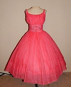Vintage 50's Fuschia PINK Chiffon Rose Applique Beaded Rhinestone Party Dress