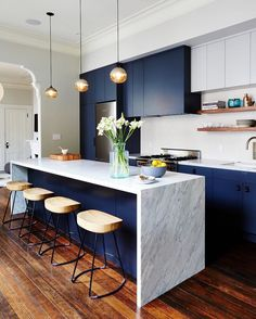 Merveilleux Kitchen Design Idea   How To Add Marble In Your Kitchen // The Dark Blue  Cabinets Make The Dark Flecks In The Marble More Prominent But Also Create  A ...