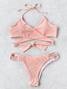 SheIn offers Ladder Cutout Wrap Bikini Set & more to fit your fashionable needs. Bikini Swimwear, Bikini Set, Bikini Tops, Thong Bikini, Trendy Outfits, Summer Outfits, Cute Outfits, Summer Clothes, Cute Bathing Suits