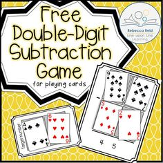 Double-Digit Subtraction Card Game – Line upon Line Learning To get extra practice in double-digit subtraction beyond the worksheets, I decided we had shake things up a bit with a playing cards game! Math Stations, Math Centers, Subtraction Activities, Numeracy, Multiplication Worksheets, Math Activities, Math Card Games, Math Night, Second Grade Math