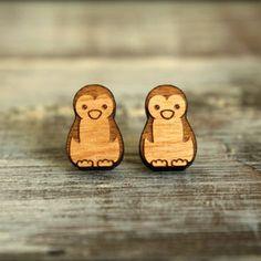Penguin Studs, Laser Cut Wood Earrings