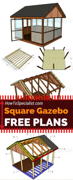 It is super easy to build a screened gazebo for your backyard! Check out my free square gazebo plans Screened Gazebo, Diy Gazebo, Hot Tub Gazebo, Gazebo Plans, Backyard Gazebo, Garden Gazebo, Gazebo Ideas, 12x12 Gazebo, Pergola Swing