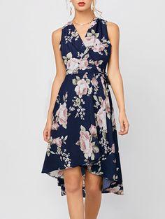 Print Dresses | Deep blue High Low Floral Dress - Gamiss