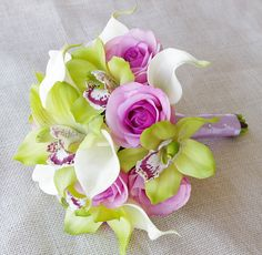 Silk Wedding Bouquet of Orchids and Callas- Off White, Green and Lilac Natural Touch Calla Lilies, Roses and Orchids Silk Bridal Bouquet by Wedideas on Etsy https://www.etsy.com/listing/190163912/silk-wedding-bouquet-of-orchids-and