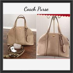 Coach Peyton Leather Cora Domed Satchel F25671 Beautiful purse! It's a neutral color (sand) it goes with anything you wear. Authentic. Measurements are 12.5x9x5.5 inches. Look at pics there are a few spots near zipper areas, one near pocket inside and one mark you can hardly see on bottom but thought I'd mention it. They look like they can all be treated. Coach Bags