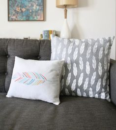 Grey Feather 18 x18 Pillow Case