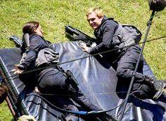 Josh and Jen on the Mockingjay set