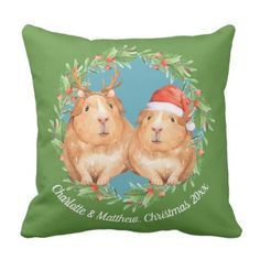 Cute Guinea Pig Couple Christmas Wreath Throw Pillow - decor gifts diy home & living cyo giftidea