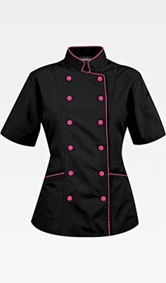 Short Sleeves Women's Ladies Chef's Coat Jackets By Chef's Apparels (S (For Bust 35-36), Black (Pink Trim))