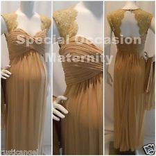 New Long Gold Lace Cutout Back Maternity Dress Gown Chiffon XL Formal Weddings