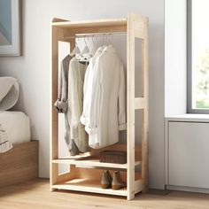 Find a great selection of garment racks and wardrobe closets for sale at Wayfair. They're perfect for the home, on set at a photo shoot, or for commercial use at a clothing store. Order your new clothes rack today! Hanging Wardrobe, Open Wardrobe, Wardrobe Rack, Closet Rod, Closet Storage, Bedroom Storage, Closet Organization, Clothing Organization, Wall Storage